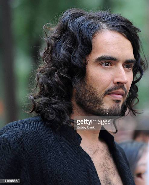 Actor Russell Brand is seen on location for 'Get Him To The Greek' in Rockefeller Center on August 1 2009 in New York New York