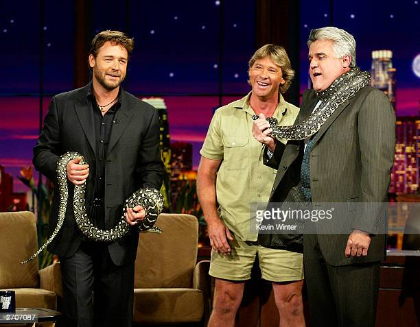 Actor Russell Crowe and 'Crocodile Hynter' Steve Irwin appear on 'The Tonight Show with Jay Leno' at the NBC Studios on November 6 2003 in Burbank...