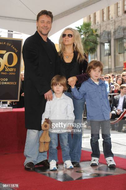Actor Russell Crowe and his wife Danielle Spencer with their children Charles Spencer Crowe and Tennyson Spencer Crowe pose while Russell Crowe is...