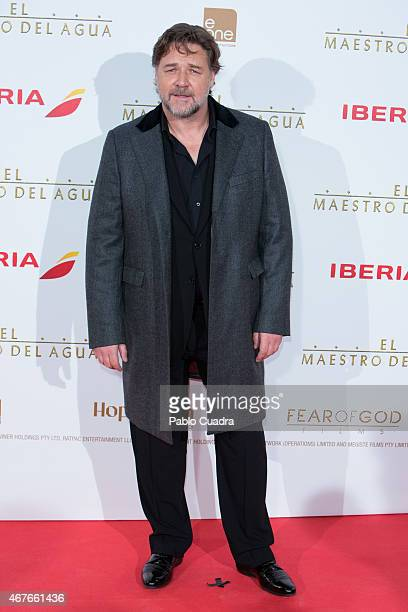 Actor Russell Crowe attends the 'El Maestro del Agua' premiere at the Callao cinema on March 26 2015 in Madrid Spain