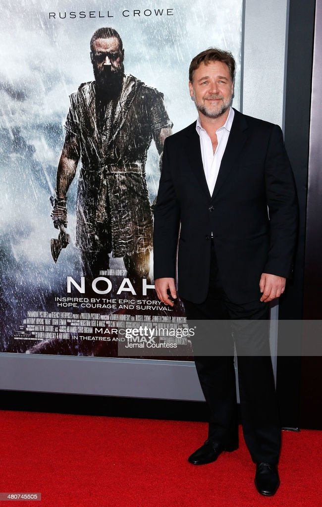 Actor <a gi-track='captionPersonalityLinkClicked' href=/galleries/search?phrase=Russell+Crowe&family=editorial&specificpeople=202609 ng-click='$event.stopPropagation()'>Russell Crowe</a> attends the New York Premiere of 'Noah' at Clearview Ziegfeld Theatre on March 26, 2014 in New York City.