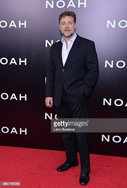 Actor Russell Crowe attends the New York premiere of Paramount Pictures' 'Noah' at the Ziegfeld Theatre on March 26 2014 in New York City