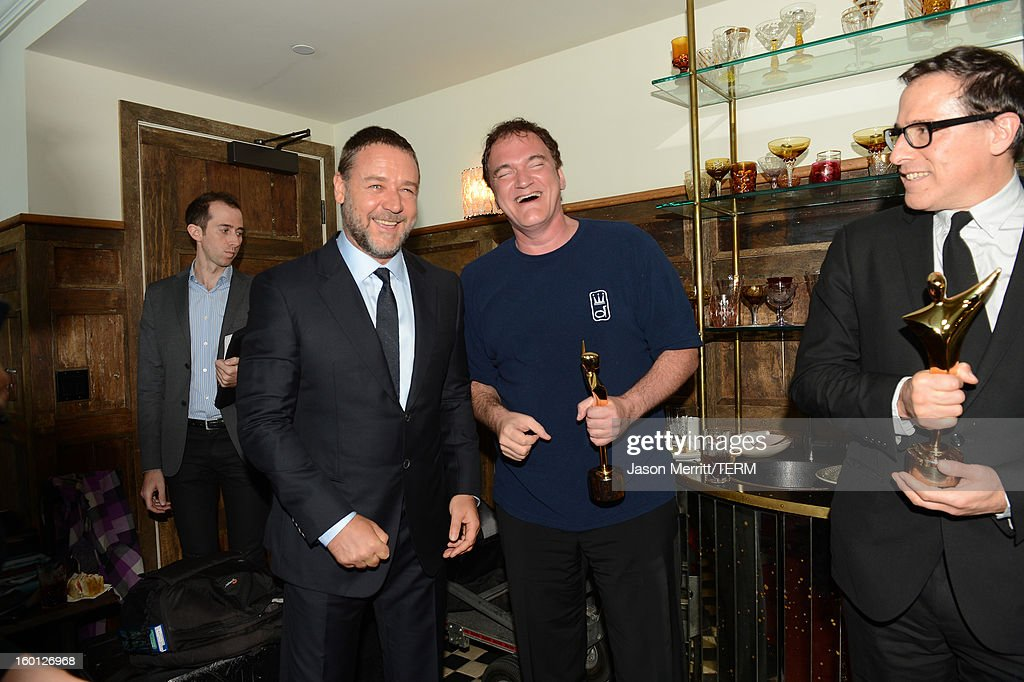 Actor <a gi-track='captionPersonalityLinkClicked' href=/galleries/search?phrase=Russell+Crowe&family=editorial&specificpeople=202609 ng-click='$event.stopPropagation()'>Russell Crowe</a>, directors <a gi-track='captionPersonalityLinkClicked' href=/galleries/search?phrase=Quentin+Tarantino&family=editorial&specificpeople=171796 ng-click='$event.stopPropagation()'>Quentin Tarantino</a>, and <a gi-track='captionPersonalityLinkClicked' href=/galleries/search?phrase=David+O.+Russell&family=editorial&specificpeople=215306 ng-click='$event.stopPropagation()'>David O. Russell</a> backstage during the Australian Academy of Cinema and Television Arts' 2nd AACTA International Awards at Soho House on January 26, 2013 in West Hollywood, California.