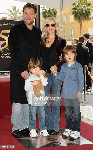 Actor Russell Crowe his wife Danielle Spencer and sons Tennyson Spencer Crowe and Charles Spencer Crowe attend Russell Crowe's induction at Hollywood...