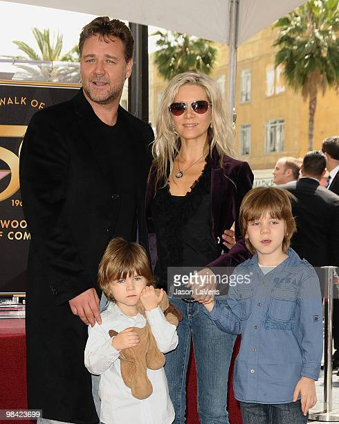 Actor Russell Crowe his wife Danielle Spencer and sons Tennyson Spencer Crowe and Charles Spencer Crowe attend Russell Crowe's induction into the...