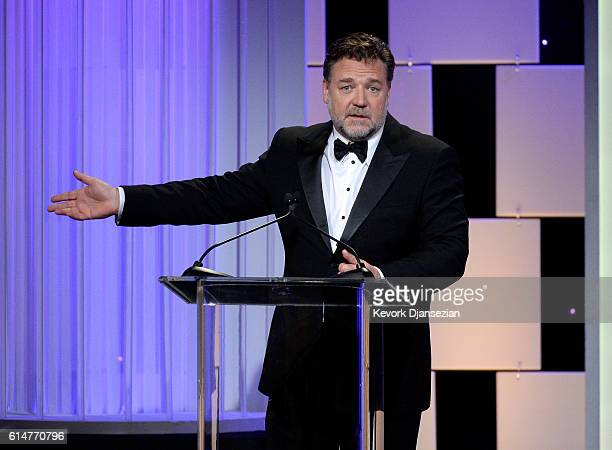 Actor Russell Crowe speaks onstage at the 30th Annual American Cinematheque Awards Gala at The Beverly Hilton Hotel on October 14 2016 in Beverly...
