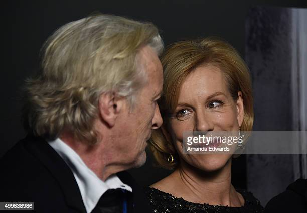 Actor Rutger Hauer and actress Juliet Stevenson attend the Los Angeles special screening of 'The Letters' at the Landmark Theatre on December 3 2015...