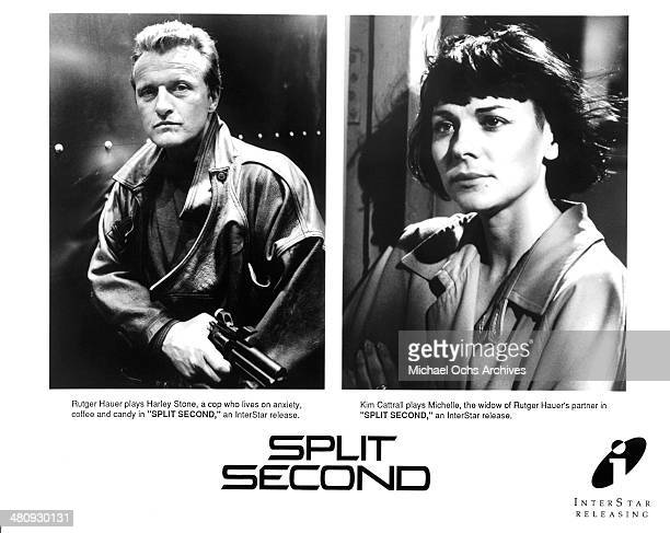 Actor Rutger Hauer on set actress Kim Cattrall in a scene from the movie 'Split Second' circa 1992
