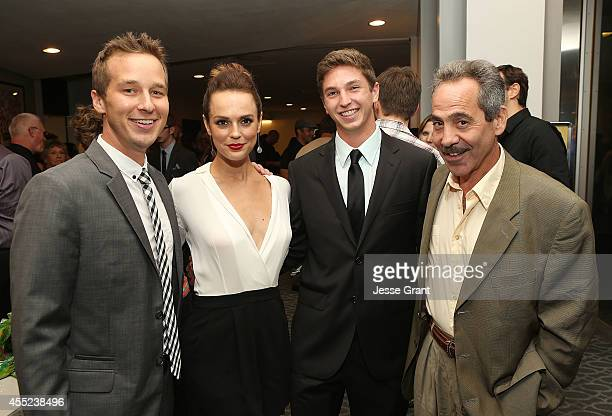 Actor Ryan Carlberg actress Erin Cahill producer Jake Katofsky and actor Larry Thomas attend the '108 Stitches' Screening Party Screening Party held...