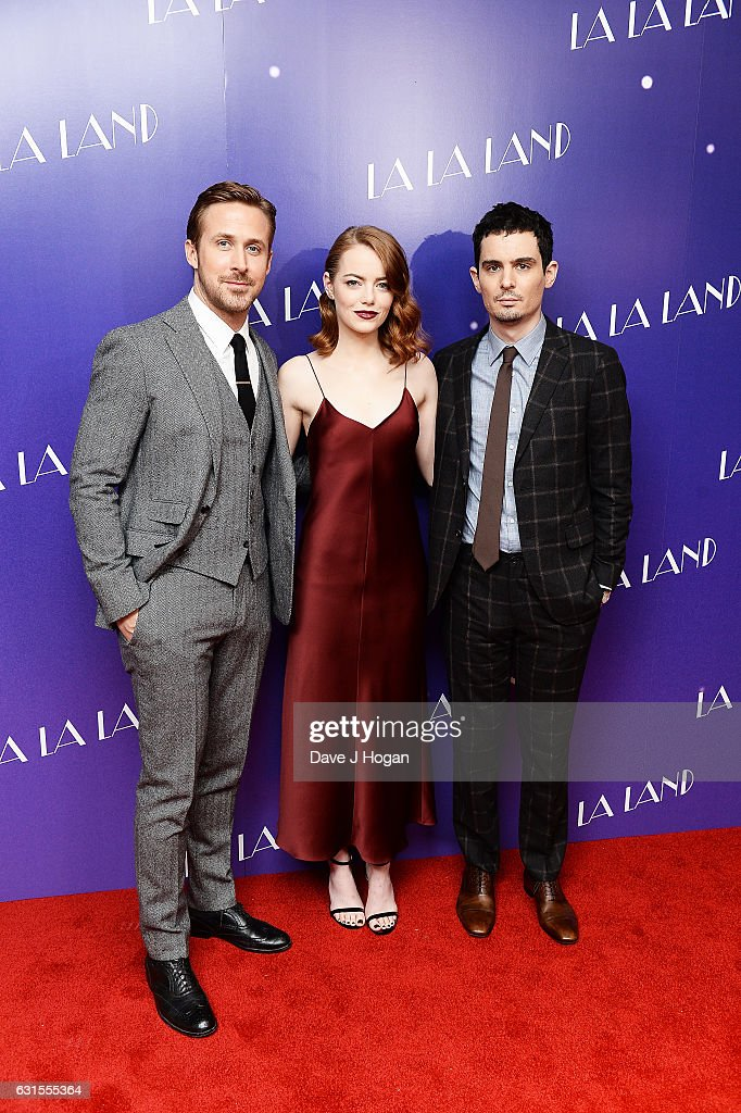 Actor Ryan Gosling, Actress Emma Stone and Director Damien Chazelle attends the Gala screening of 'La La Land' at Ham Yard Hotel on January 12, 2017 in London, England.