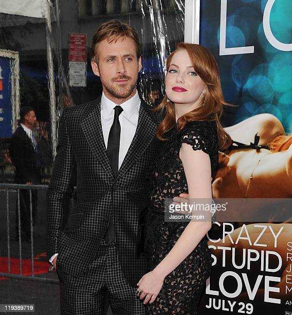 Actor Ryan Gosling and actress Emma Stone attend the 'Crazy Stupid Love' World Premiere at the Ziegfeld Theater on July 19 2011 in New York City