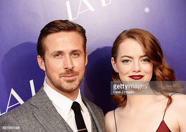 Actor Ryan Gosling and Actress Emma Stone attend the Gala screening of 'La La Land' at Ham Yard Hotel on January 12 2017 in London England