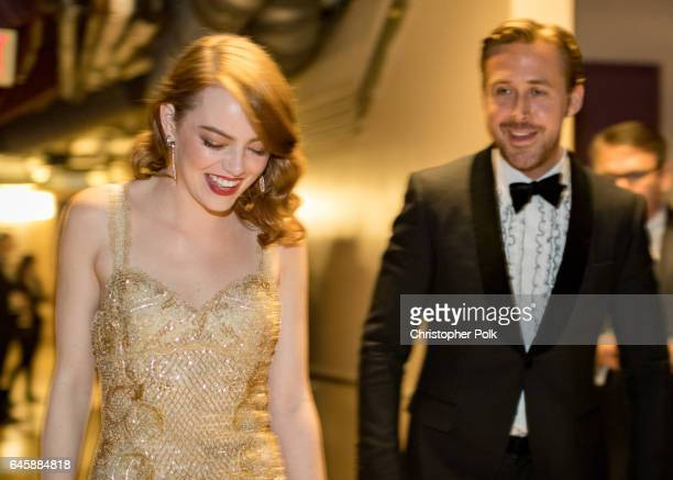 Actor Ryan Gosling and actress Emma Stone winner of Best Actress for 'La La Land' backstage during the 89th Annual Academy Awards at Hollywood...