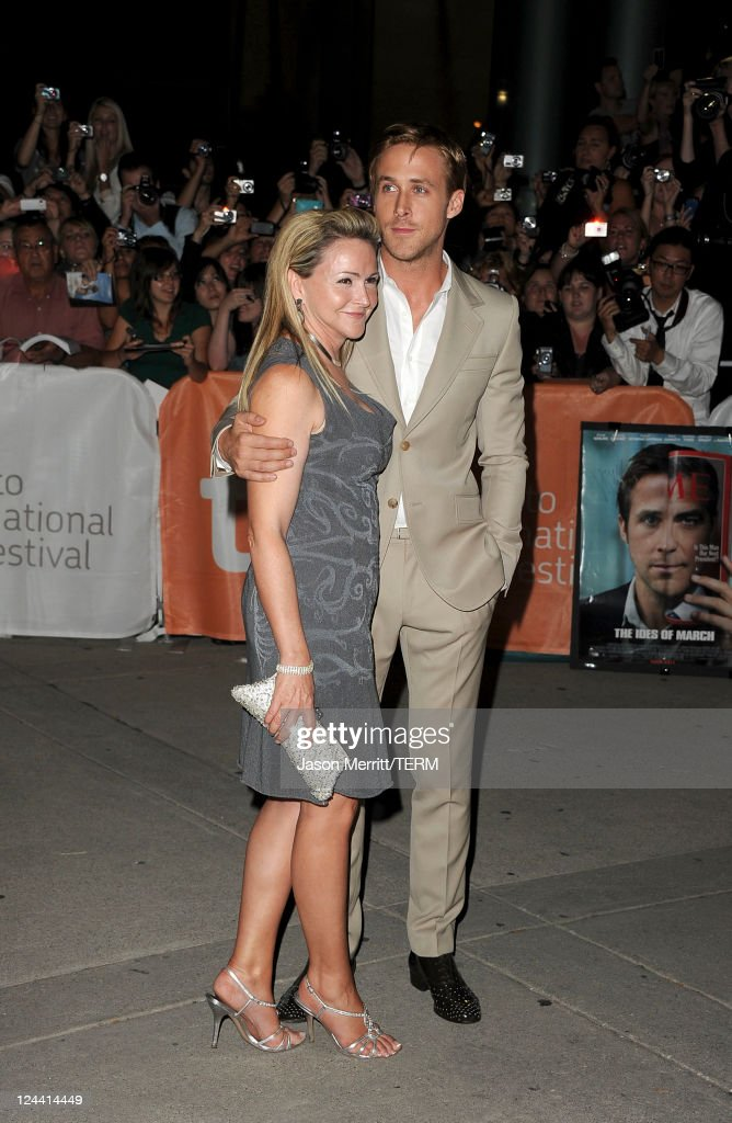 Actor <a gi-track='captionPersonalityLinkClicked' href=/galleries/search?phrase=Ryan+Gosling&family=editorial&specificpeople=214557 ng-click='$event.stopPropagation()'>Ryan Gosling</a> (R) and his mom Donna Gosling arrive at 'Ides Of March' Premiere at Roy Thomson Hall during the 2011 Toronto International Film Festival on September 9, 2011 in Toronto, Canada.