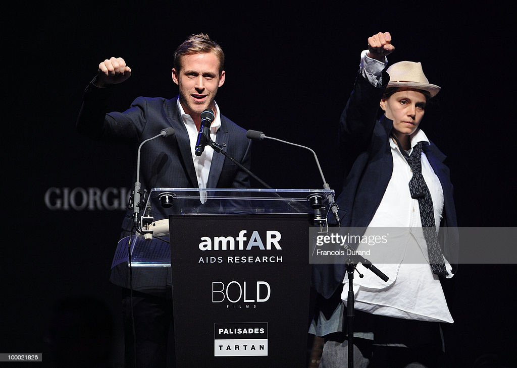 Actor Ryan Gosling (L) and Shannon Plumb speak during amfAR's Cinema Against AIDS 2010 benefit gala at the Hotel du Cap on May 20, 2010 in Antibes, France.