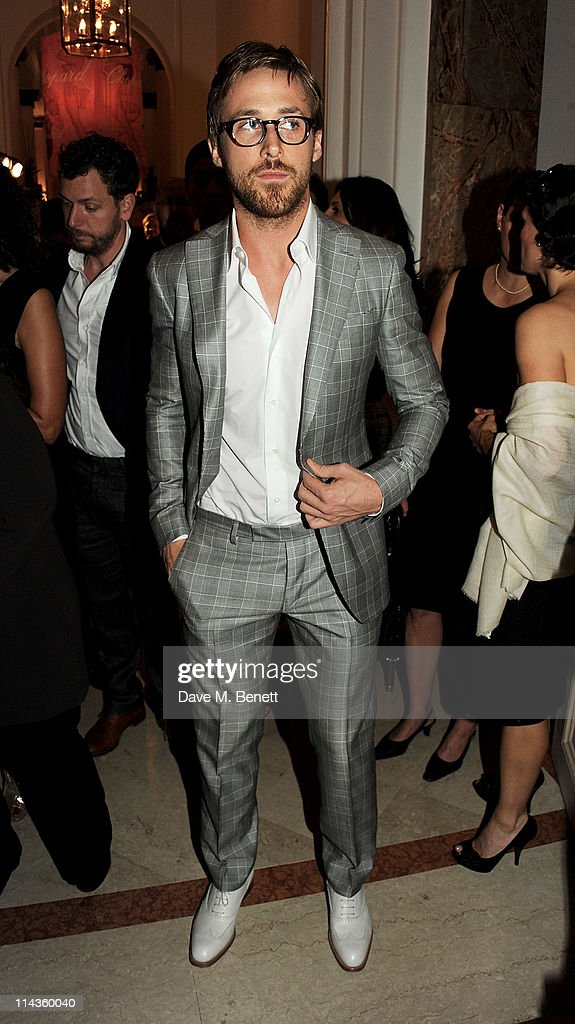 Actor Ryan Gosling attends the Cinema For Peace inaugural Cannes dinner honoring Sean Penn for his charity work in Haiti and benefiting his J/P...