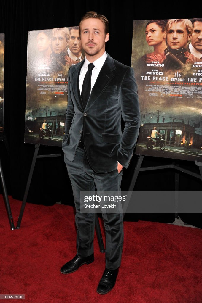 Actor <a gi-track='captionPersonalityLinkClicked' href=/galleries/search?phrase=Ryan+Gosling&family=editorial&specificpeople=214557 ng-click='$event.stopPropagation()'>Ryan Gosling</a> attends 'The Place Beyond The Pines' New York Premiere at Landmark Sunshine Cinema on March 28, 2013 in New York City.