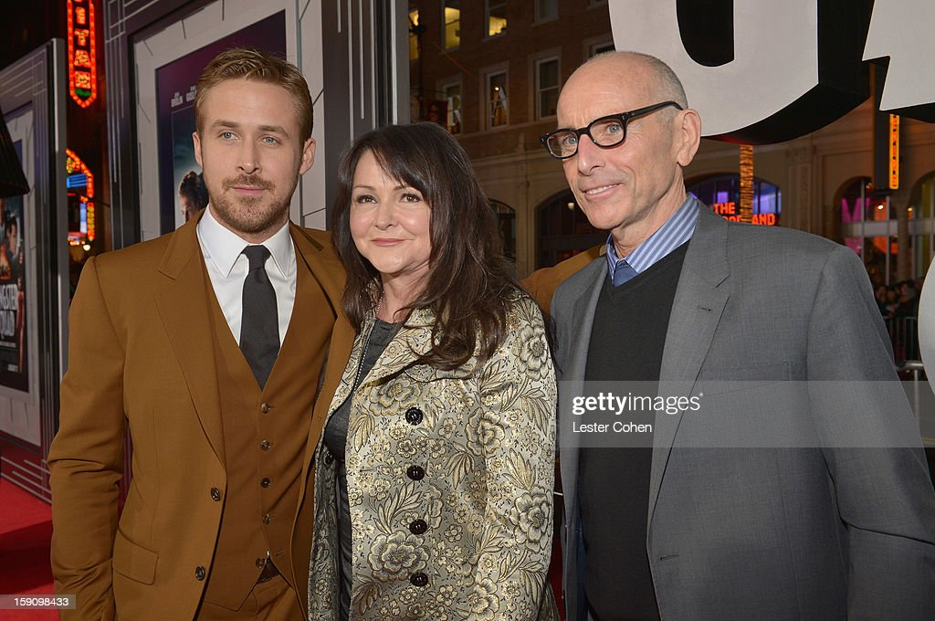 Actor <a gi-track='captionPersonalityLinkClicked' href=/galleries/search?phrase=Ryan+Gosling&family=editorial&specificpeople=214557 ng-click='$event.stopPropagation()'>Ryan Gosling</a>, Donna Gosling and producer Kevin McCormick arrive at the 'Gangster Squad' premiere at Grauman's Chinese Theatre on January 7, 2013 in Hollywood, California.