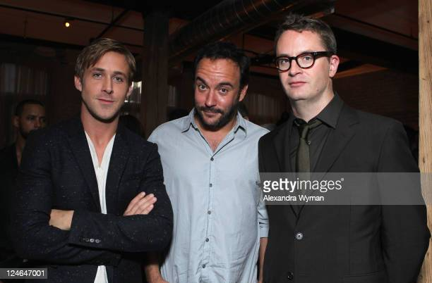 Actor Ryan Gosling Musician/Actor Dave Matthews and Director Nicolas Winding Refn attend the 'Drive' party hosted by GREY GOOSE Vodka at Soho House...