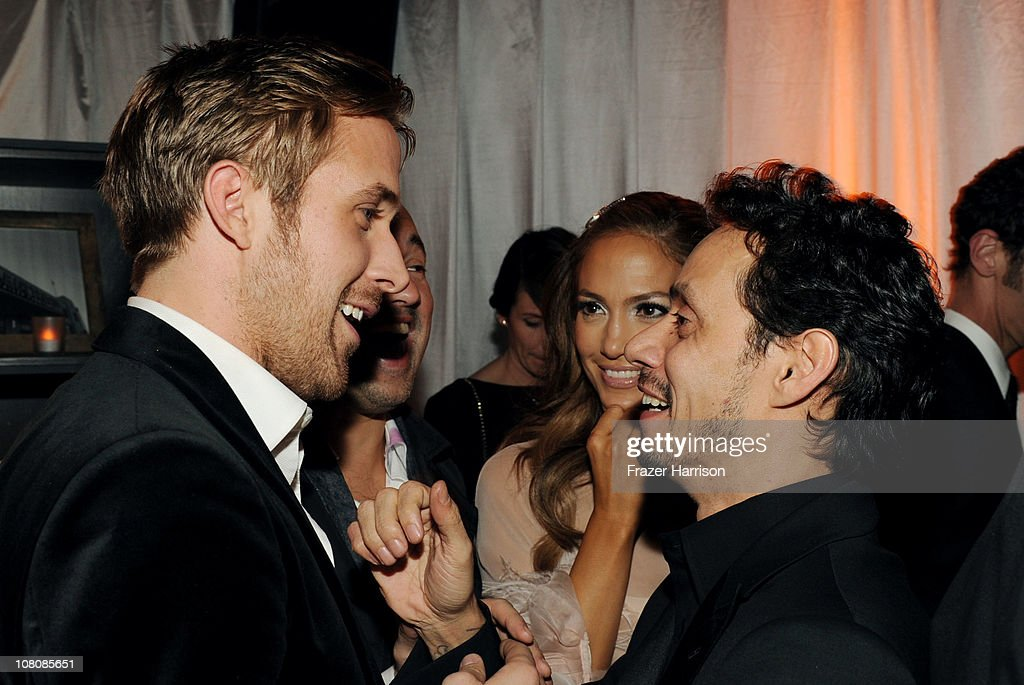 Actor <a gi-track='captionPersonalityLinkClicked' href=/galleries/search?phrase=Ryan+Gosling&family=editorial&specificpeople=214557 ng-click='$event.stopPropagation()'>Ryan Gosling</a>, singer/actress <a gi-track='captionPersonalityLinkClicked' href=/galleries/search?phrase=Jennifer+Lopez&family=editorial&specificpeople=201784 ng-click='$event.stopPropagation()'>Jennifer Lopez</a>, and singer <a gi-track='captionPersonalityLinkClicked' href=/galleries/search?phrase=Marc+Anthony&family=editorial&specificpeople=202544 ng-click='$event.stopPropagation()'>Marc Anthony</a> attend Relativity Media and The Weinstein Company's 2011 Golden Globe Awards After Party presented by Marie Claire held at The Beverly Hilton hotel on January 16, 2011 in Beverly Hills, California.
