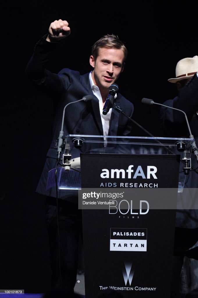 Actor Ryan Gosling speaks during amfAR's Cinema Against AIDS 2010 benefit gala at the Hotel du Cap on May 20, 2010 in Antibes, France.