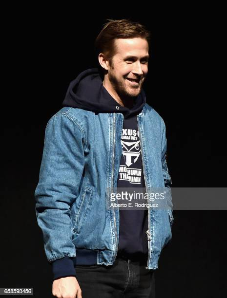 Actor Ryan Gosling speaks onstage at the CinemaCon 2017 Gala Opening Night Event Sony Pictures Highlights its 2017 Summer and Beyond Films at The...