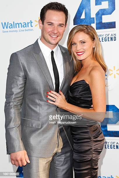 Actor Ryan Merriman and guest attend the premiere of Warner Bros Pictures' And Legendary Pictures' '42' at TCL Chinese Theatre on April 9 2013 in...