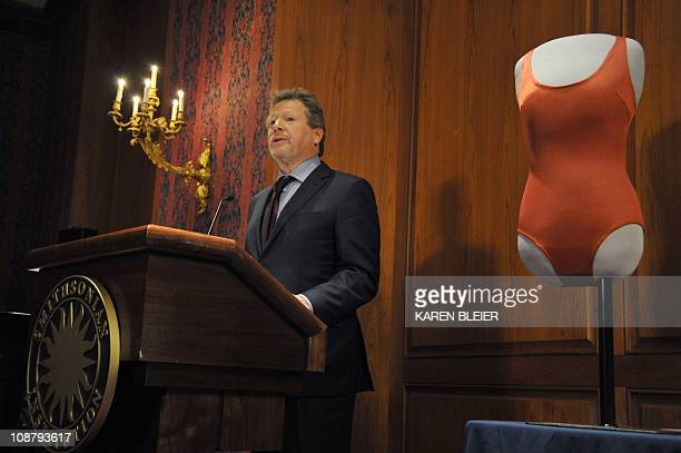 Actor Ryan O'Neal speaks during a ceremony in which items belonging to the late actress Farah Fawcett were enshrined in the Smithsonian Institution's...