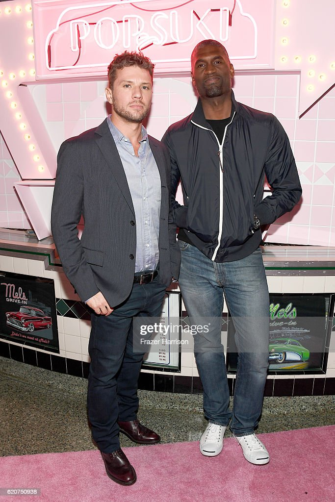 Actor Ryan Phillippe (L) and guest attend Poppy Jamie, Suki Waterhouse, Leo Seigal and Cade Hudson celebration of the launch of POP & SUKI on November 2, 2016 in Los Angeles, California.
