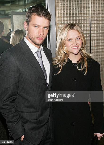Actor Ryan Phillippe and wife Reese Witherspoon attend The Cinema Society Zenith Watches screening after party for 'Flags Of Our Fathers' at the SOHO...