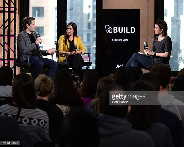 Actor Ryan Piers Williams actress America Ferrera and Alison Bailes attend AOL BUILD Speaker Series at AOL Studios In New York on February 24 2015 in...