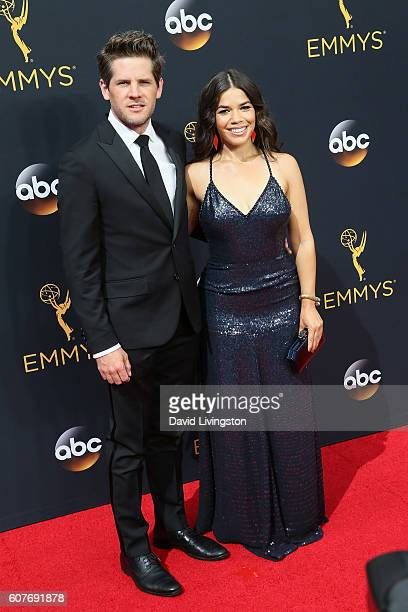 Actor Ryan Piers Williams and actress America Ferrera arrive at the 68th Annual Primetime Emmy Awards at the Microsoft Theater on September 18 2016...
