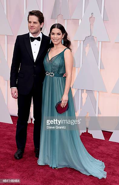 Actor Ryan Piers Williams and actress America Ferrera attends the 87th Annual Academy Awards at Hollywood Highland Center on February 22 2015 in...