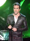 Actor Ryan Reynolds accepts award onstage during Spike TV's 'Scream 2010' at The Greek Theatre on October 16 2010 in Los Angeles California