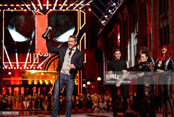 Actor Ryan Reynolds accepts Best Comedic Performance for 'Deadpool' from actors Zac Efron and Seth Rogen and rappers Cheryl 'Salt' James and Sandra...