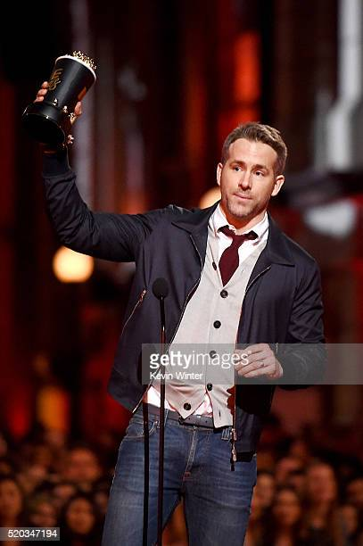 Actor Ryan Reynolds accepts Best Comedic Performance for 'Deadpool' onstage during the 2016 MTV Movie Awards at Warner Bros Studios on April 9 2016...