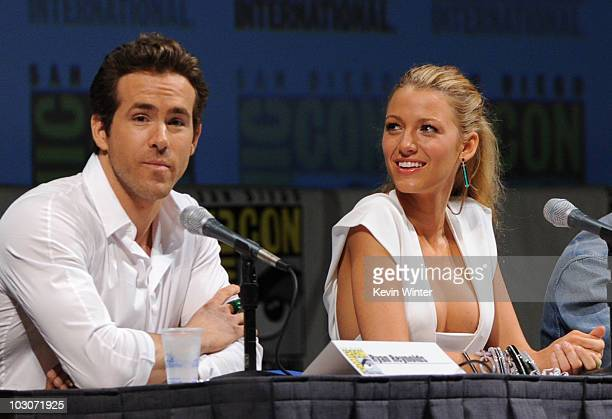 Actor Ryan Reynolds and actress Blake Lively speak onstage at the 'Green Lantern' panel discussion during ComicCon 2010 at San Diego Convention...