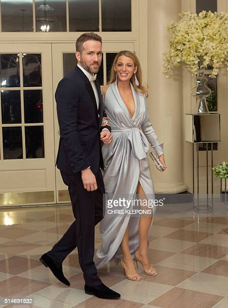 Actor Ryan Reynolds and Blake Lively arrive at a State Dinner in honor of Canadian Prime Minister Justin Trudeau at the White House in Washington on...