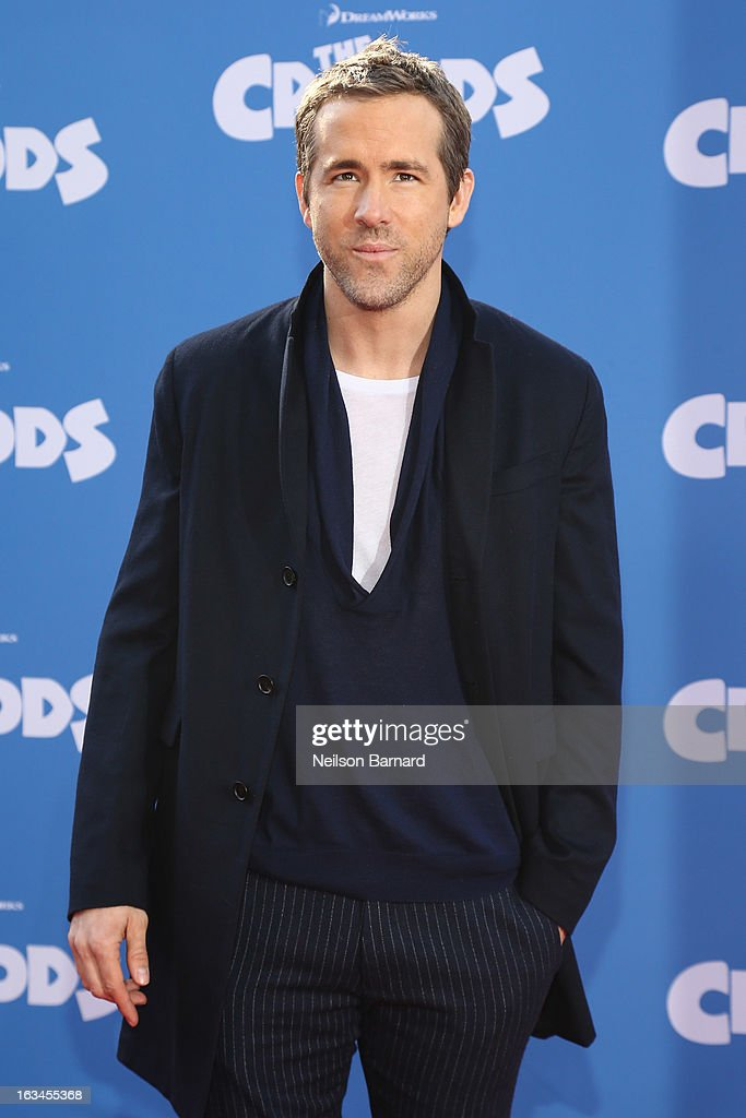 Actor <a gi-track='captionPersonalityLinkClicked' href=/galleries/search?phrase=Ryan+Reynolds&family=editorial&specificpeople=204149 ng-click='$event.stopPropagation()'>Ryan Reynolds</a> attends 'The Croods' premiere at AMC Loews Lincoln Square 13 theater on March 10, 2013 in New York City.