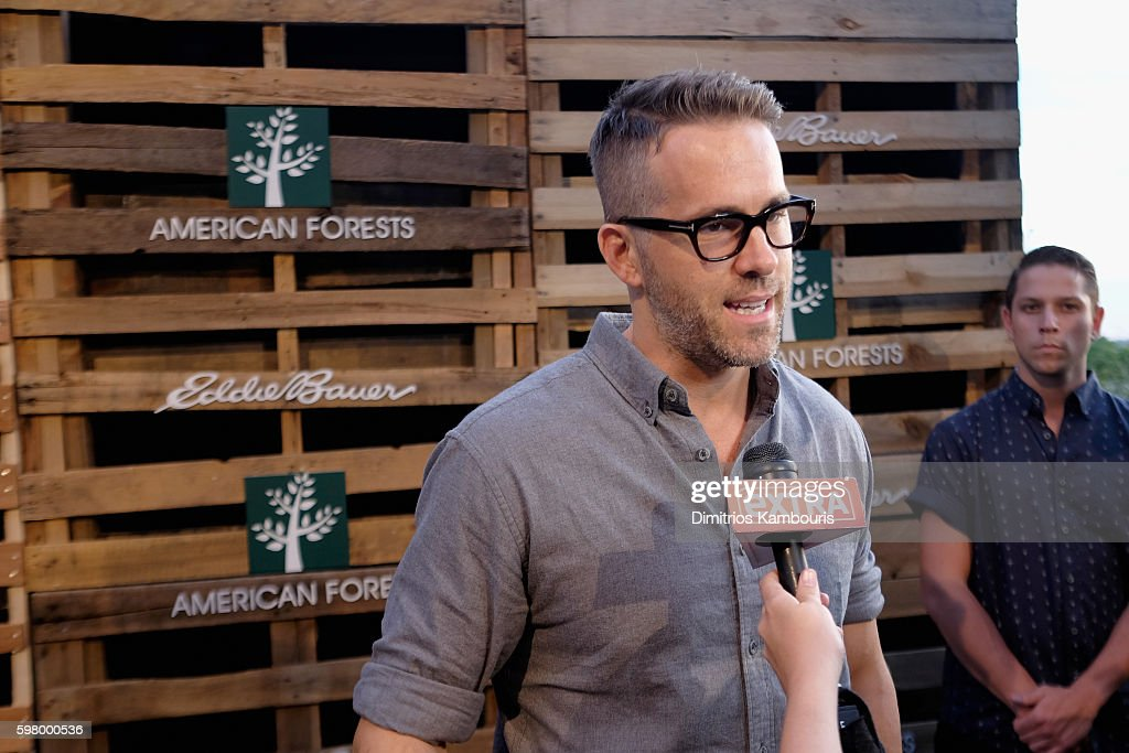 Actor Ryan Reynolds is interviewed during the One Tree Campaign celebration with Eddie Bauer and American Forests on August 30 2016 in New York City
