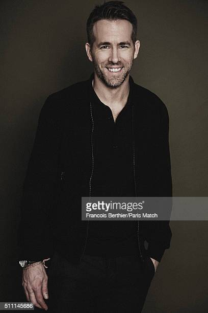 Actor Ryan Reynolds is photographed for Paris Match on January 26 2016 in Paris France