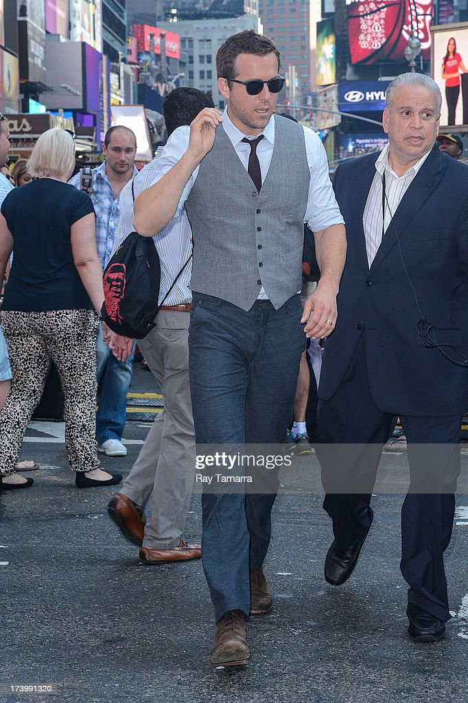 Actor Ryan Reynolds leaves the 'Good Morning America' taping at the ABC Times Square Studios on July 18, 2013 in New York City.