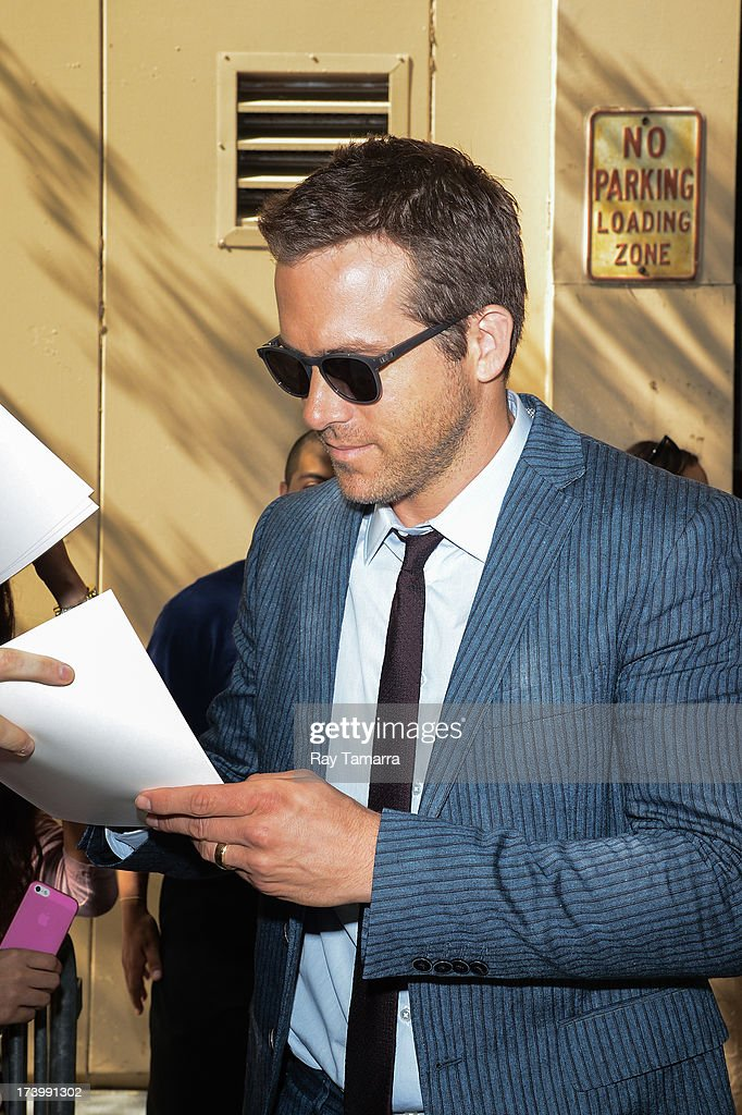 Actor Ryan Reynolds leaves the 'Live Wtih Kelly And Michael' taping at the ABC Lincoln Center Studios on July 18, 2013 in New York City.
