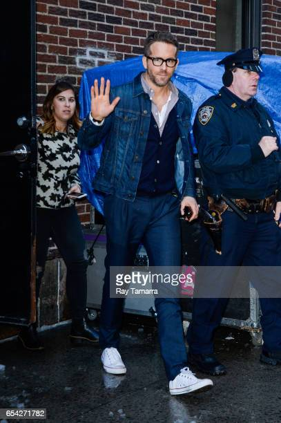 Actor Ryan Reynolds leaves the 'The Late Show With Stephen Colbert' taping at the Ed Sullivan Theater on March 16 2017 in New York City