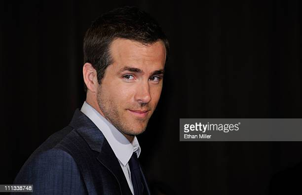 Actor Ryan Reynolds recipient of the Male Star of the Year award arrives at the CinemaCon awards ceremony at the Pure Nightclub at Caesars Palace...