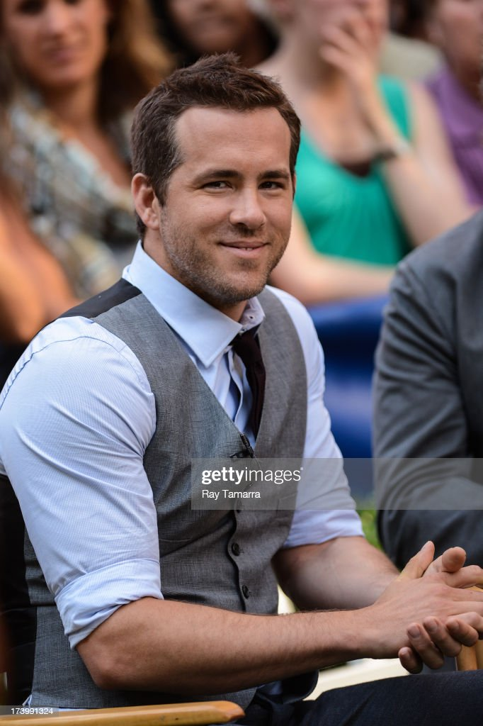 Actor Ryan Reynolds tapes an interview at 'Good Morning America' at the ABC Times Square Studios on July 18, 2013 in New York City.