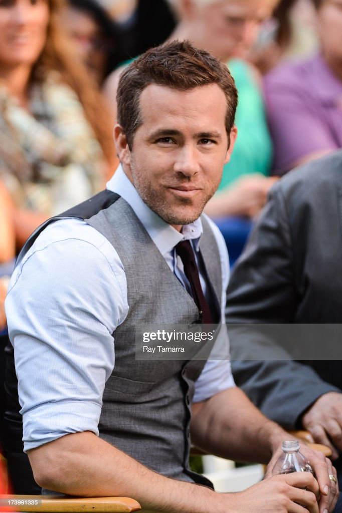 Actor <a gi-track='captionPersonalityLinkClicked' href=/galleries/search?phrase=Ryan+Reynolds&family=editorial&specificpeople=204149 ng-click='$event.stopPropagation()'>Ryan Reynolds</a> tapes an interview at 'Good Morning America' at the ABC Times Square Studios on July 18, 2013 in New York City.