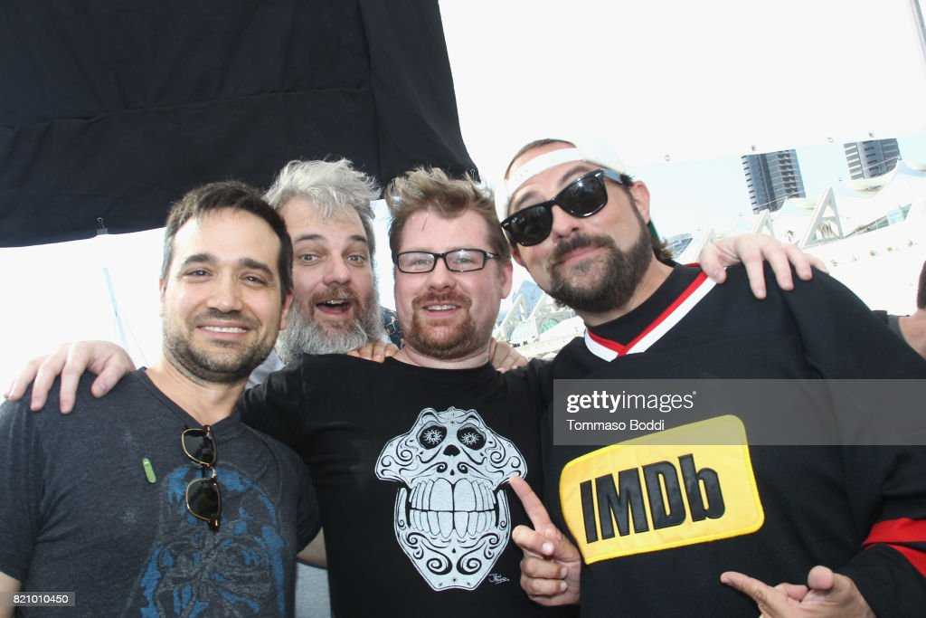 Actor Ryan Ridley, writers Dan Harmon, Justin Roiland and host Kevin Smith on the #IMDboat at San Diego Comic-Con 2017 at The IMDb Yacht on July 22, 2017 in San Diego, California.