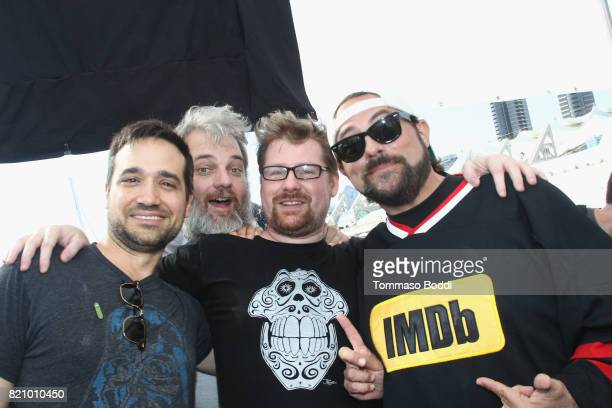 Actor Ryan Ridley writers Dan Harmon Justin Roiland and host Kevin Smith on the #IMDboat at San Diego ComicCon 2017 at The IMDb Yacht on July 22 2017...