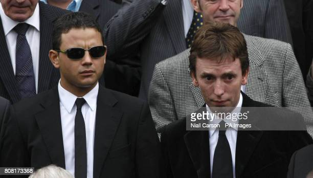 Actor Ryan Thomas and snooker player Ken Doherty outside St Anne's Cathedral Belfast for Alex Higgins's funeral service